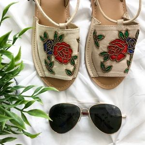 New TOPSHOP Nude Embroidered Beaded Wrap Sandals